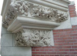 Corner Ornament on a building next to Rijk Museum