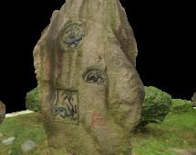 Carved stone in Tin Tsz garden